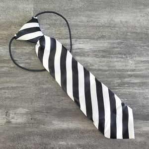 White Black Striped Satin Little Boy Tie